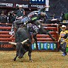 Rider CODY NANCE completes a successful ride on bull THE ROCKER during the championship round at the Professional Bull Riders Built Ford Tough Series, Bass Pro Chute Out presented by Cooper Tires at the Scottrade Center in St. Louis, Missouri