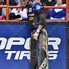 Rider RYAN DIRTEATER  hangs on the wall while in pain during the final round at the Professional Bull Riders Built Ford Tough Series, Bass Pro Chute Out presented by Cooper Tires at the Scottrade Center in St. Louis, Missouri