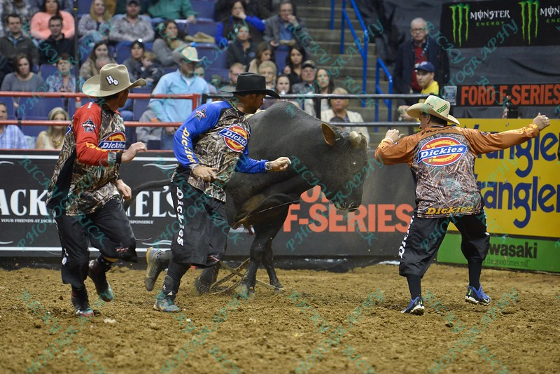 Bullfighter SHORTY GORHAM (red), Bullfighter Lyndel Runyan (blue) and Bullfighter FRANK NEWSOM (orange) run from bull OPEN SEASON during the first round at the Professional Bull Riders Built Ford Tough Series, Bass Pro Chute Out presented by Cooper Tires at the Scottrade Center in St. Louis, Missouri