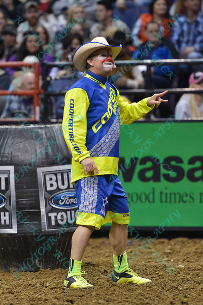 Ring announcer and clown FLINT RASMUSSEN during the first round at the Professional Bull Riders Built Ford Tough Series, Bass Pro Chute Out presented by Cooper Tires at the Scottrade Center in St. Louis, Missouri