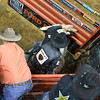 Rider MARCO EGUCHI leaves the chute on bull BAD TOUCH during the second round at the Professional Bull Riders Built Ford Tough Series, Bass Pro Chute Out presented by Cooper Tires at the Scottrade Center in St. Louis, Missouri
