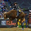 Rider JOAO RICARDO VIEIRA on bull KRAKEN during the first round at the Professional Bull Riders Built Ford Tough Series, Bass Pro Chute Out presented by Cooper Tires at the Scottrade Center in St. Louis, Missouri