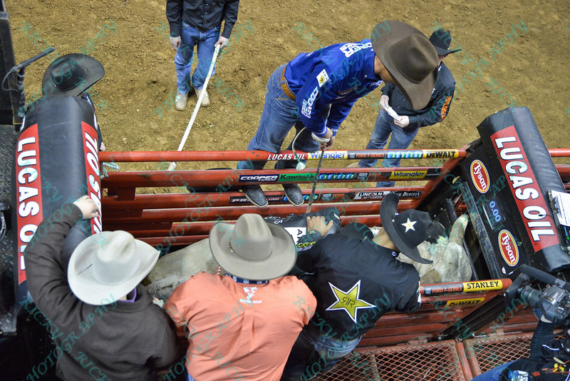 Rider MARCO EGUCHI waits in the chute on bull BAD TOUCH during the second round at the Professional Bull Riders Built Ford Tough Series, Bass Pro Chute Out presented by Cooper Tires at the Scottrade Center in St. Louis, Missouri