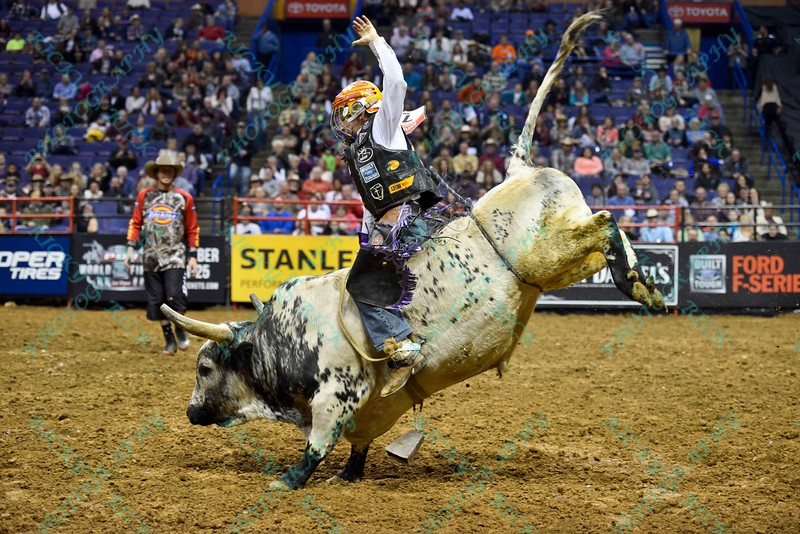 Young rider BRIAN SHIVERS shows good form during the first round at the Professional Bull Riders Built Ford Tough Series, Chute Out presented by Cooper Tires at the Scottrade Center in St. Louis, Missouri