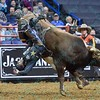 Rider STORMY WING goes heads over heals after being bucked by bull FIRE ROCK during the championshp round at the Professional Bull Riders Built Ford Tough Series, Bass Pro Chute Out presented by Cooper Tires at the Scottrade Center in St. Louis, Missouri