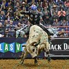 Rider MIKE LEE starts to lose his balance on bull JOHNNY WALKER BLACK JR. during the first round at the Professional Bull Riders Built Ford Tough Series, Chute Out presented by Cooper Tires at the Scottrade Center in St. Louis, Missouri
