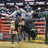 Rider CHASE OUTLAW leans back to stay on bull SPITBALL during the final round at the Professional Bull Riders Built Ford Tough Series, Bass Pro Chute Out presented by Cooper Tires at the Scottrade Center in St. Louis, Missouri