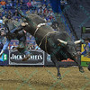 Rider ZANE LAMBERT flies through the air after being tossed from bull THE ROCKER during the first round at the Professional Bull Riders Built Ford Tough Series, Chute Out presented by Cooper Tires at the Scottrade Center in St. Louis, Missouri
