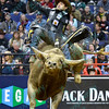 Rider JOAO RICARDO VIEIRA grimmaces as he tries to stay on bull TAHONTA'S MAGIC during the second round at the Professional Bull Riders Built Ford Tough Series presented by Cooper Tires at the Scottrade Center in St. Louis, Missouri