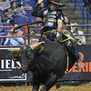 Rider FABIANO VIEIRA completes a successful ride on bull ESCAPE ARTIST during the first round at the Professional Bull Riders Built Ford Tough Series, Chute Out presented by Cooper Tires at the Scottrade Center in St. Louis, Missouri