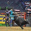 Rider DAVIS COOPER gets bucked from bull AMERICAN SNIPER during the final round at the Professional Bull Riders Built Ford Tough Series, Bass Pro Chute Out presented by Cooper Tires at the Scottrade Center in St. Louis, Missouri