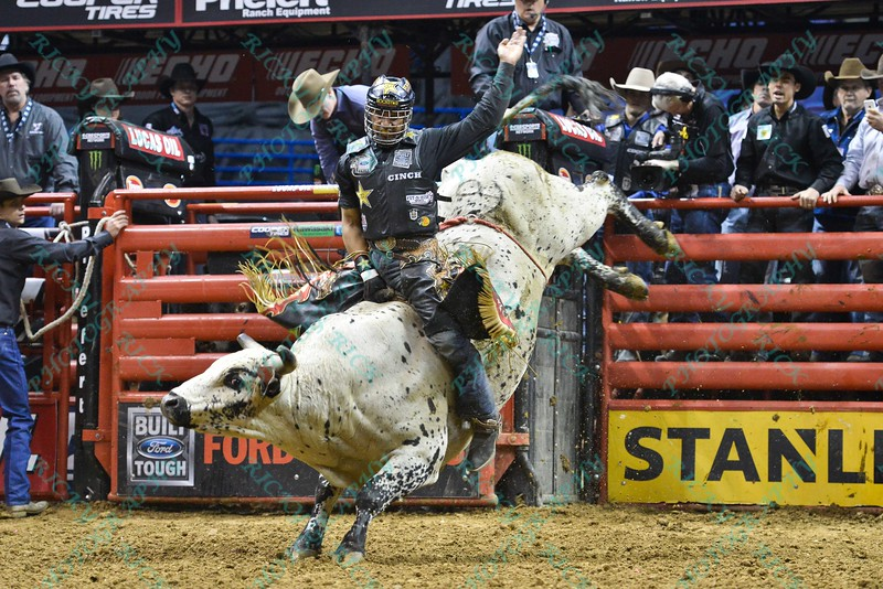 Rider VALDIRON DE OLIVEIRA completes a successful ride on bull HD during the final round at the Professional Bull Riders Built Ford Tough Series, Bass Pro Chute Out presented by Cooper Tires at the Scottrade Center in St. Louis, Missouri