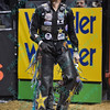 Rider SHANE PROCTOR watches his ride on the video replay during the first round at the Professional Bull Riders Built Ford Tough Series, Chute Out presented by Cooper Tires at the Scottrade Center in St. Louis, Missouri