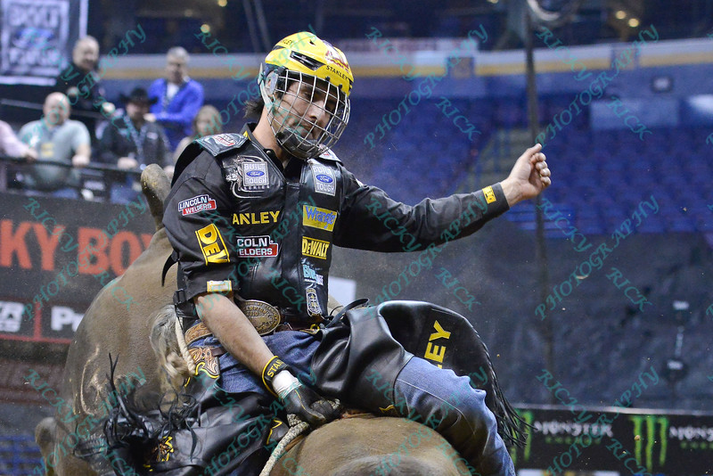 Rider SILVANO ALVES during the second round at the Professional Bull Riders Built Ford Tough Series presented by Cooper Tires at the Scottrade Center in St. Louis, Missouri