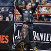Rider STETSON LAWRENCE celebrates his successful ride during the championship round at the Professional Bull Riders Built Ford Tough Series, Bass Pro Chute Out presented by Cooper Tires at the Scottrade Center in St. Louis, Missouri