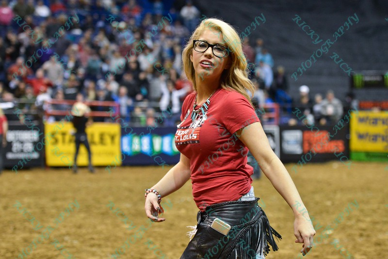 One of the PBR girls during the third round at the Professional Bull Riders Built Ford Tough Series, Bass Pro Chute Out presented by Cooper Tires at the Scottrade Center in St. Louis, Missouri
