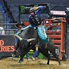 Rider KAIQUE PACHECO comes out of the gate strong on bull ELECTRIC PRUNE during the first round at the Professional Bull Riders Built Ford Tough Series, Chute Out presented by Cooper Tires at the Scottrade Center in St. Louis, Missouri