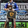 Rider KAIQUE PACHECO the winner of the Professional Bull Riders Built Ford Tough Series, Bass Pro Chute Out presented by Cooper Tires at the Scottrade Center in St. Louis, Missouri