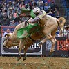Rider BRADY SIMS  gets bucked from bull FARGO during the first round at the Professional Bull Riders Built Ford Tough Series, Bass Pro Chute Out presented by Cooper Tires at the Scottrade Center in St. Louis, Missouri