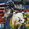 Rider KAIQUE PACHECO with bull WHO DEY during the third round at the Professional Bull Riders Built Ford Tough Series, Bass Pro Chute Out presented by Cooper Tires at the Scottrade Center in St. Louis, Missouri