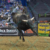 Rider ZANE LAMBERT  gets bucked from bull THE ROCKER during the first round at the Professional Bull Riders Built Ford Tough Series, Chute Out presented by Cooper Tires at the Scottrade Center in St. Louis, Missouri