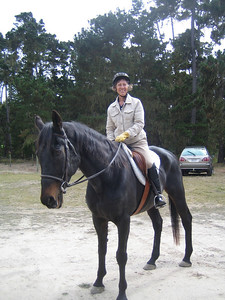 Getting ready to ride out is Sandy Grimmer on her fair horse.
