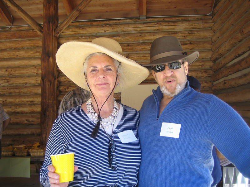 PBRTA board director Jeanne Adams poses with bartender Paul Jordan. They both wore hats and coordinated so well.