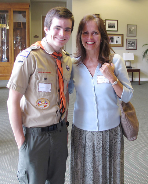 Scott Long & proud mom, Mary Beth. Scott is the second of our scouts working toward his Eagle Scout rank by fund raising, procuring, painting and placing 15 trail markers. His will mark the Blue loop.