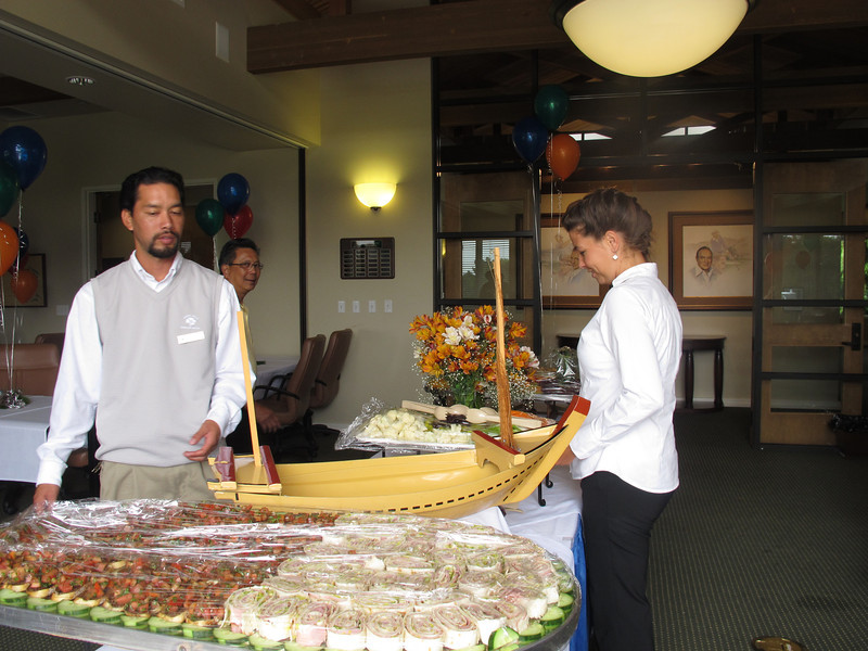 Anthony, Jonathan, and Katie bring out the delicious food! We loved the sushi boat. The Poppy Hills catering department knows how to take care of their guests.