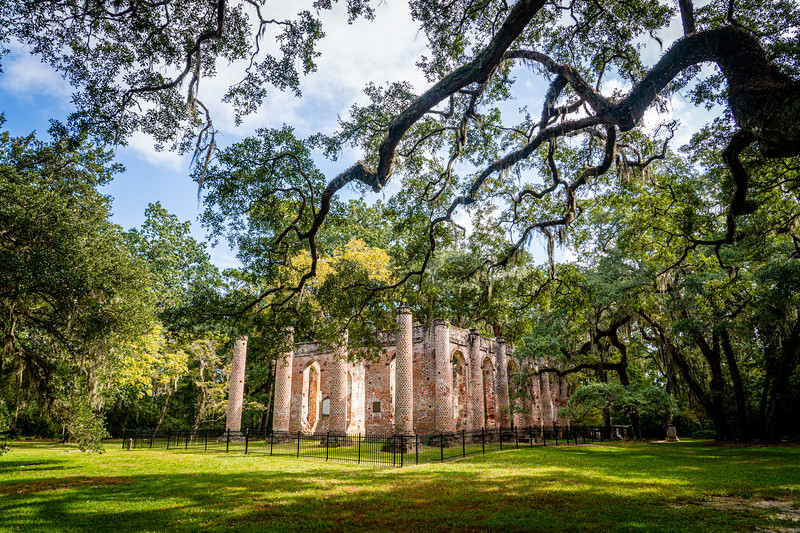 Scenic #2:  Old Sheldon Church Ruins in SC.  .  I wish I had made it there before they erected the protective fence.  I love how the tree branches seem to point to the ruins.  This one also will need to be cropped.
