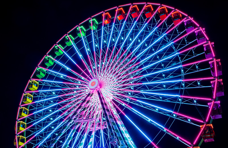 Open #1:  NC State Fair Ferris wheel.  The majority of my shots from that night featured the the Ferris Wheel in Motion and the whirling lights it produces.  However, I ended up really liking the perspective on this sharp photo.