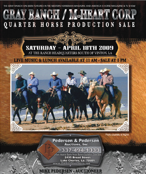 "Be sure to attend the<a href=""http://www.horsesonly.com/catalog/pedersen/grayranch/""> Gray Ranch / M-Heart Corp. Quarter Horse Production Sale</a>, April 18, 2009, at the Ranch Headquarters, South of Vinton, Louisiana. Enjoy the nearly 400 photos in this gallery of the ranch and their 2007 production sale.  <a href=""http://www.buyhorsesonly.com/catalog/sale_listing.php?catalog=548&catalog_type_cd=S""><b>View the online catalog HERE</b></a> The Gray Ranch has been featured in the Western Horseman magazine and the cover story feature in America's  Horse  magazine & TV show.   This is a special opportunity to purchase horses bred and used in  some of the most challenging ranching conditions anywhere.  Swimming intracoastal waterways and navigating Louisiana  marshes come with the territory."