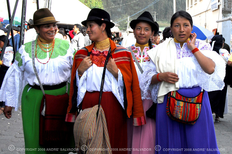 Four Ecuadorian women spotted on the streets in the Cayambe Highlands area.