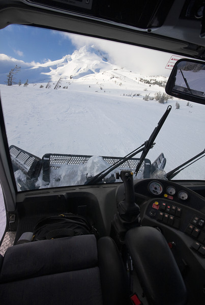 View from the driver's seat of a BR350 looking uphill towards the upper part of the Vista Express area and the summit of Mt. Hood.<br /> <br /> Lens used: 10-22mm f3.5-4.5