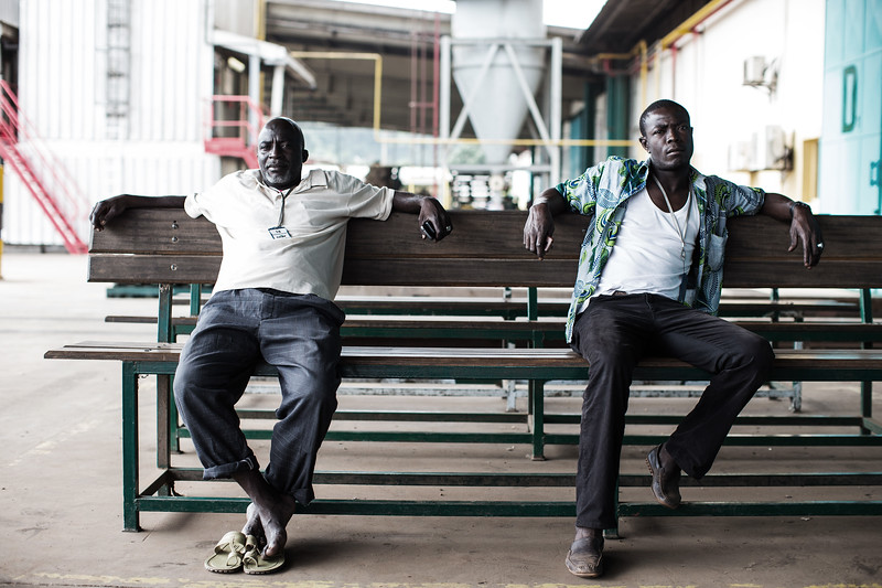 Two workers taking a break at Cargill's processing plant in San Pedro