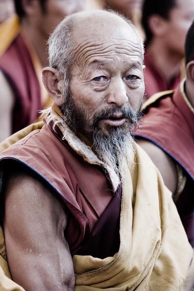Tibeten Monk at prayer - eastern Tibet, China