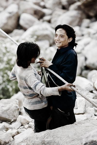 Rope bridge - Nujiang River, Yunnan Province, China