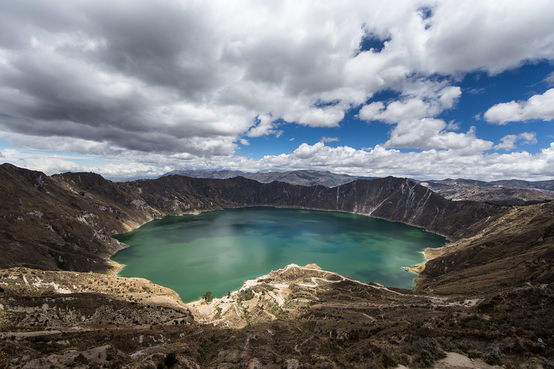 Quilotoa: a water-filled caldera and the most western volcano in the Ecuadorian Andes. The 3-kilometre-wide caldera was formed by the collapse of this dacite volcano