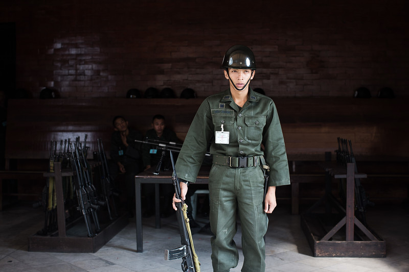 A Thai soldier guarding the entrance to the Grand Palace - Bangkok