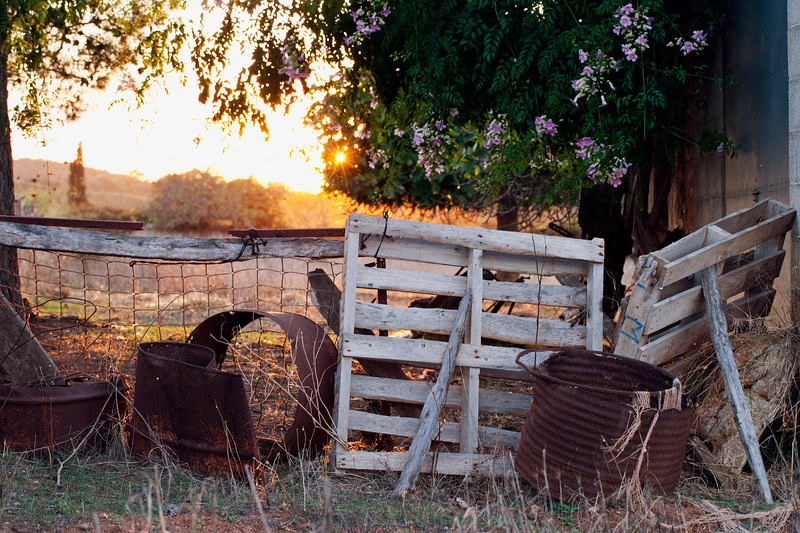 Sunset over the farm - outside the village of Cas Concos, Majorca