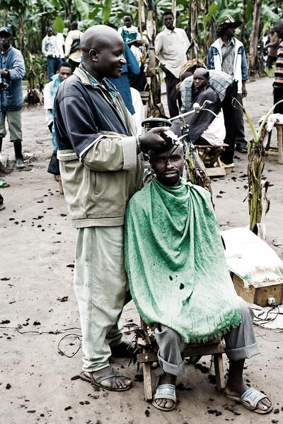 Haircut on the road to Kigali, Rwanda