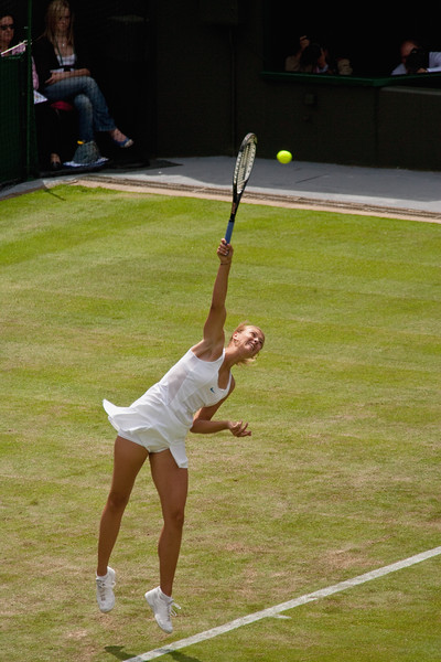 Maria Sharapova - serving at the Wimbledon Championships