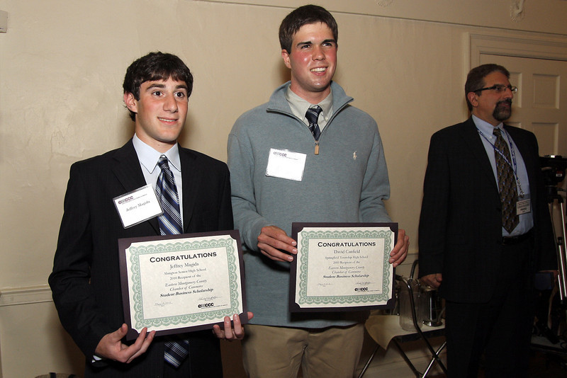 Jeffrey Magid, left, Abington High School, and David Canfield, Springfield Township High School, received EMCCC Neiman Memorial Scholarships at the Eastern Montgomery County Chamber of Commerce 2010 Annual Business and Community Awards Dinner.<br /> Bob Raines 5/19/10
