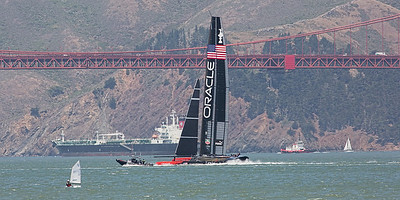ORACLE out practicing for upcoming America's Cup race