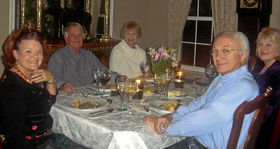 NANCY, JERRY, SHERRY, DIK, ELAINE waiting for table-mate Henry