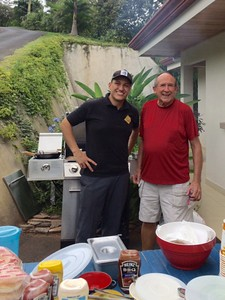 Me with Michael Hernández, Hamburger Chef for my 76th Birthday Fiesta  --  2016
