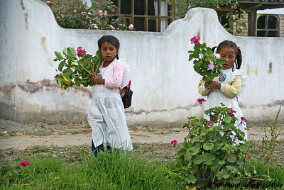 TWO LITTLE GIRLS with FLOWERS EQUADOR
