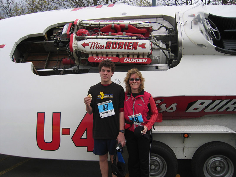 Dan & Mom, Mercer Island Half Marathon 2006.<br /> Time: Dan ~ 2:13:16,  Mom ~ 2:14:34