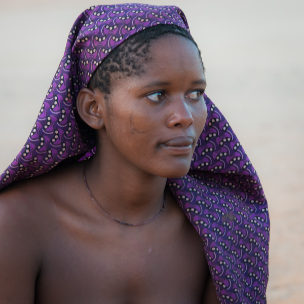 Himba Woman with Purple Headscarf