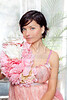 beautiful flowers woman with spring pink dress